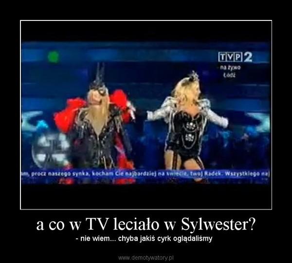 a co w TV leciało w Sylwester? – - nie wiem... chyba jakiś cyrk oglądaliśmy