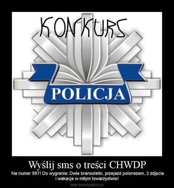Wyślij sms o treści CHWDP –  Na numer 997! Do wygrania: Dwie bransoletki, przejazd polonezem, 3 zdjęciai wakacje w miłym towarzystwie!