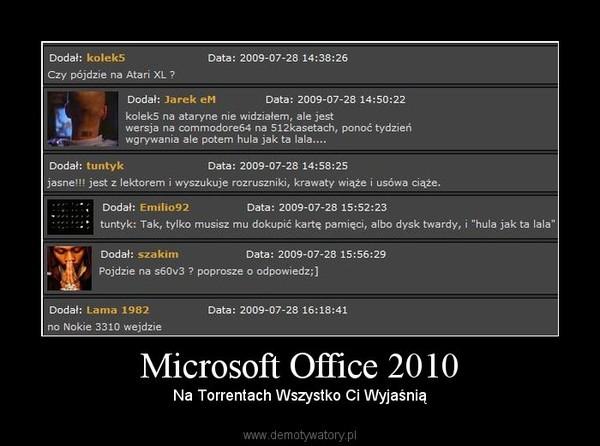 Microsoft Office 2010 –  Na Torrentach Wszystko Ci Wyjaśnią