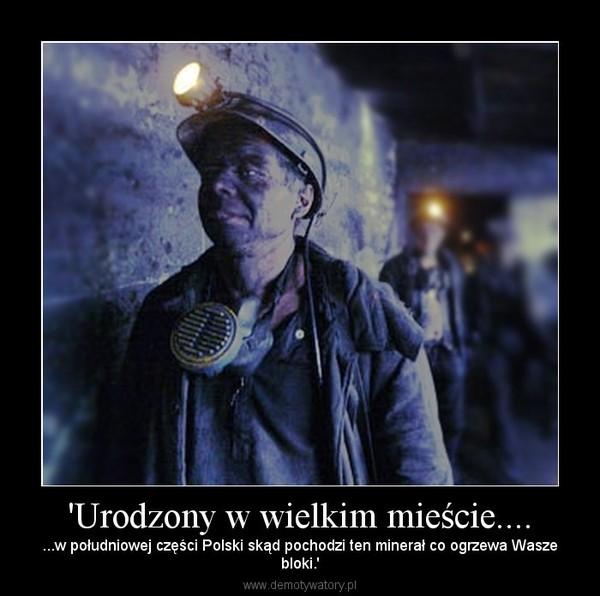 'Urodzony w wielkim mieście.... – ...w południowej części Polski skąd pochodzi ten minerał co ogrzewa Waszebloki.'