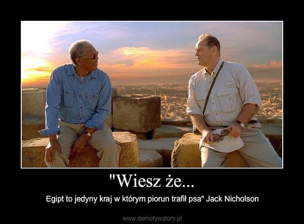 """""""Wiesz że... – Egipt to jedyny kraj w którym piorun trafił psa"""" Jack Nicholson"""