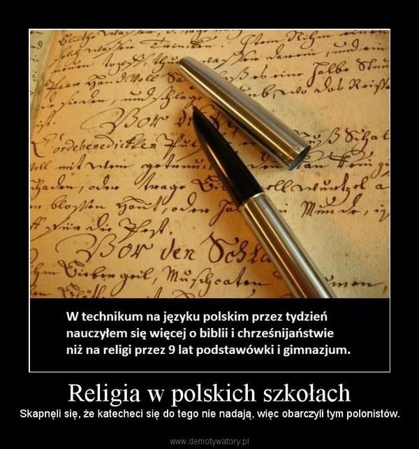 Religia w polskich szkołach – Skapnęli się, że katecheci się do tego nie nadają, więc obarczyli tym polonistów.
