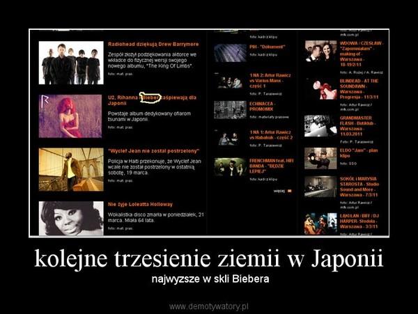 kolejne trzesienie ziemii w Japonii – najwyzsze w skli Biebera