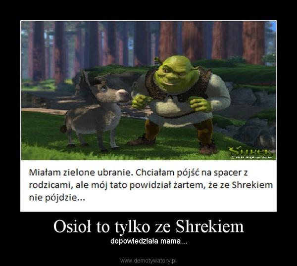 Osioł to tylko ze Shrekiem – dopowiedziała mama...