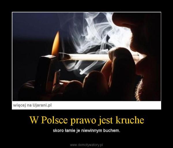 W Polsce prawo jest kruche – skoro łamie je niewinnym buchem.