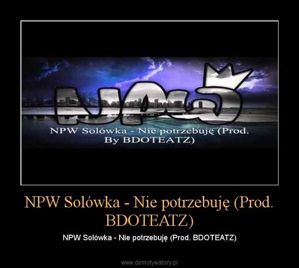 NPW Solówka - Nie potrzebuję (Prod. BDOTEATZ) – NPW Solówka - Nie potrzebuję (Prod. BDOTEATZ)