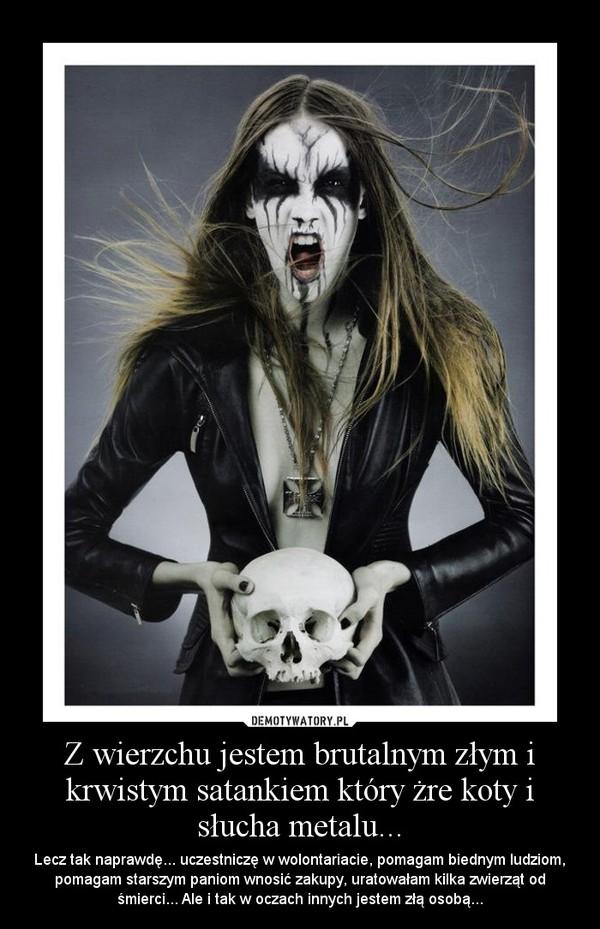 Z wierzchu jestem brutalnym złym i krwistym satankiem który żre koty i słucha metalu... – Lecz tak naprawdę... uczestniczę w wolontariacie, pomagam biednym ludziom, pomagam starszym paniom wnosić zakupy, uratowałam kilka zwierząt od śmierci... Ale i tak w oczach innych jestem złą osobą...