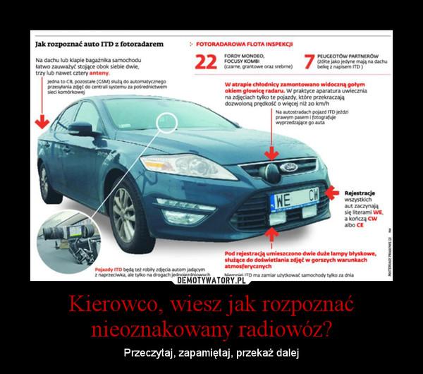 Kierowco, wiesz jak rozpoznać nieoznakowany radiowóz? – Przeczytaj, zapamiętaj, przekaż dalej