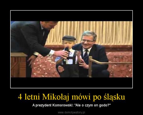 """4 letni Mikołaj mówi po śląsku – A prezydent Komorowski: """"Ale o czym on godo?"""""""