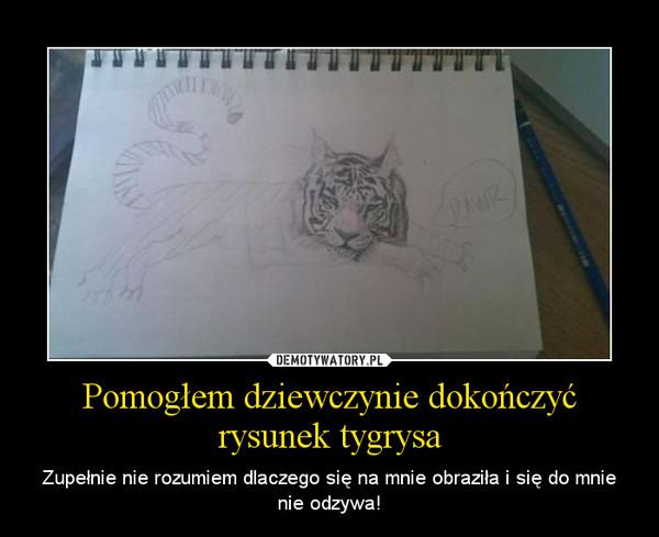 Pomogłem dziewczynie dokończyć rysunek tygrysa – Zupełnie nie rozumiem dlaczego się na mnie obraziła i się do mnie nie odzywa!