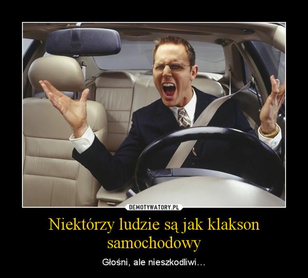 Niektórzy ludzie są jak klakson samochodowy – Głośni, ale nieszkodliwi…