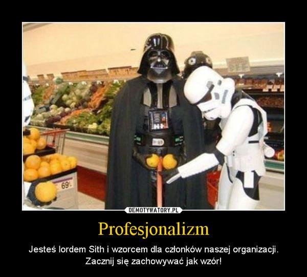 Profesjonalizm – Jesteś lordem Sith i wzorcem dla członków naszej organizacji.Zacznij się zachowywać jak wzór!