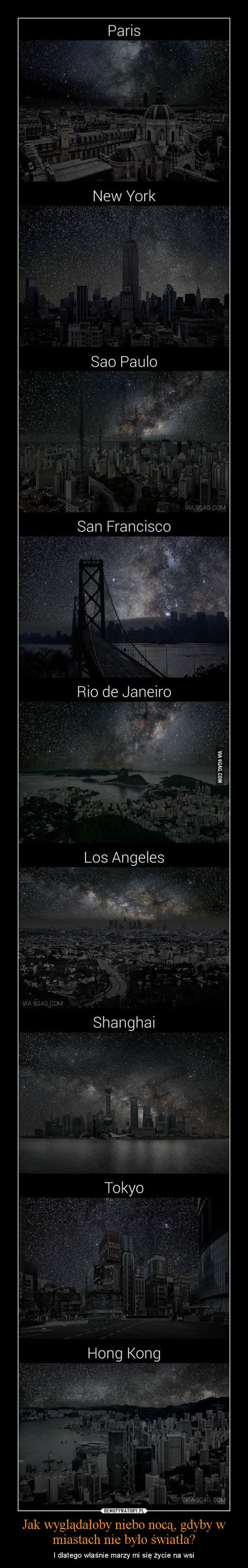 Jak wyglądałoby niebo nocą, gdyby w miastach nie było światła? – I dlatego właśnie marzy mi się życie na wsi