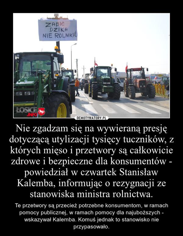 Nie zgadzam się na wywieraną presję dotyczącą utylizacji tysięcy tuczników, z których mięso i przetwory są całkowicie zdrowe i bezpieczne dla konsumentów - powiedział w czwartek Stanisław Kalemba, informując o rezygnacji ze stanowiska ministra rolnictwa. – Te przetwory są przecież potrzebne konsumentom, w ramach pomocy publicznej, w ramach pomocy dla najuboższych - wskazywał Kalemba. Komuś jednak to stanowisko nie przypasowało.