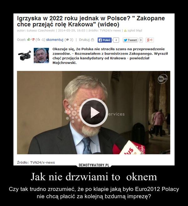 Jak nie drzwiami to  oknem – Czy tak trudno zrozumieć, że po klapie jaką było Euro2012 Polacy nie chcą płacić za kolejną bzdurną imprezę?