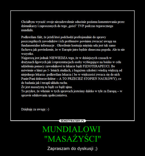 """MUNDIALOWI  """"MASAŻYŚCI"""""""