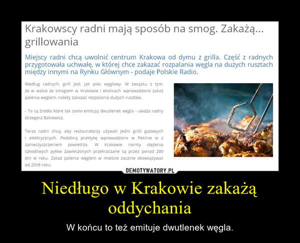 Niedługo w Krakowie zakażą oddychania – W końcu to też emituje dwutlenek węgla.
