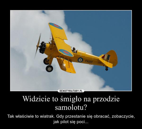 Widzicie to śmigło na przodzie samolotu? – Tak właściwie to wiatrak. Gdy przestanie się obracać, zobaczycie, jak pilot się poci...