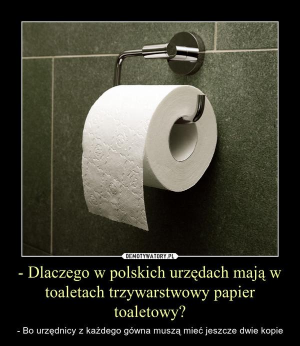 - Dlaczego w polskich urzędach mają w toaletach trzywarstwowy papier toaletowy? – - Bo urzędnicy z każdego gówna muszą mieć jeszcze dwie kopie