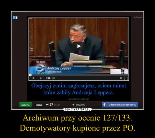 Archiwum przy ocenie 127/133. Demotywatory kupione przez PO.