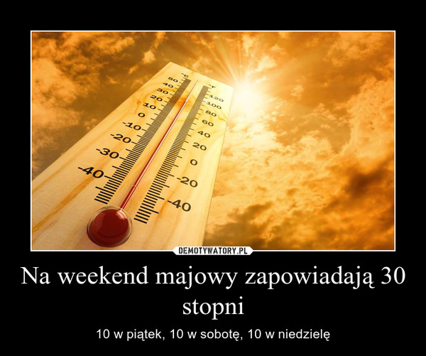 Na weekend majowy zapowiadają 30 stopni – 10 w piątek, 10 w sobotę, 10 w niedzielę