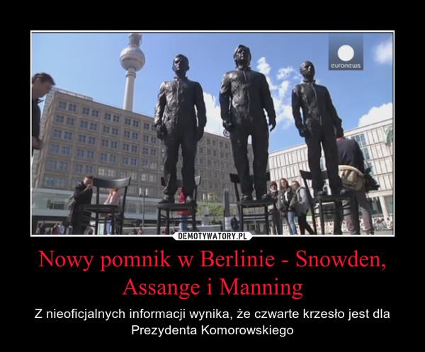 Nowy pomnik w Berlinie - Snowden, Assange i Manning – Z nieoficjalnych informacji wynika, że czwarte krzesło jest dla Prezydenta Komorowskiego