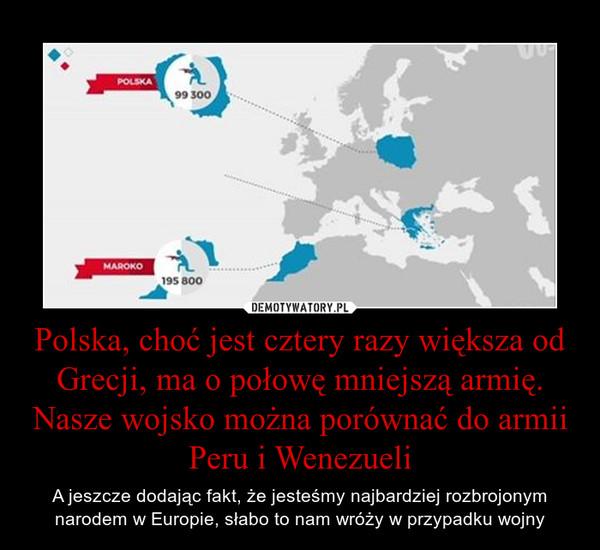 Polska, choć jest cztery razy większa od Grecji, ma o połowę mniejszą armię. Nasze wojsko można porównać do armii Peru i Wenezueli – A jeszcze dodając fakt, że jesteśmy najbardziej rozbrojonym narodem w Europie, słabo to nam wróży w przypadku wojny