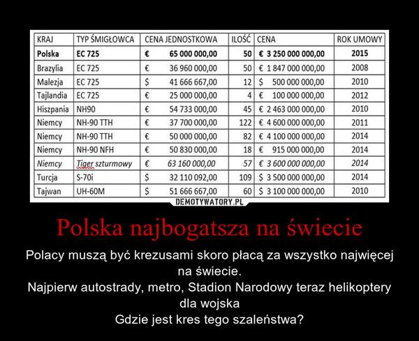 Polska najbogatsza na świecie – Polacy muszą być krezusami skoro płacą za wszystko najwięcej na świecie.Najpierw autostrady, metro, Stadion Narodowy teraz helikoptery dla wojskaGdzie jest kres tego szaleństwa?