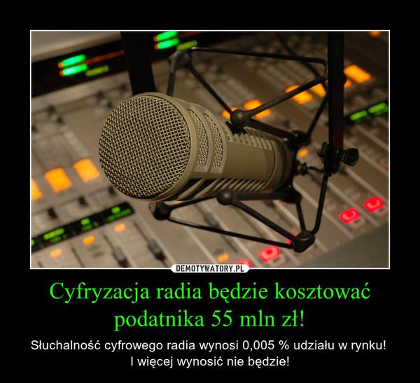 Cyfryzacja radia będzie kosztować podatnika 55 mln zł! – Słuchalność cyfrowego radia wynosi 0,005 % udziału w rynku! I więcej wynosić nie będzie!