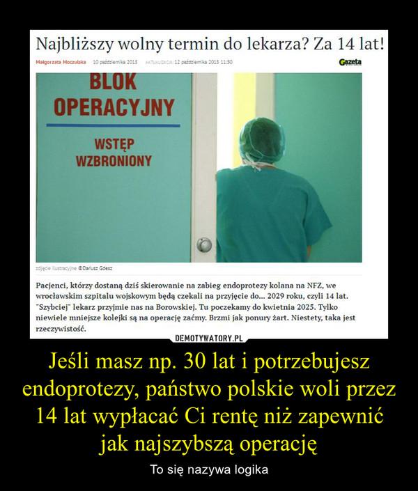 """Jeśli masz np. 30 lat i potrzebujesz endoprotezy, państwo polskie woli przez 14 lat wypłacać Ci rentę niż zapewnić jak najszybszą operację – To się nazywa logika Najbliższy wolny termin do lekarza? Za 14 lat!Pacjenci, którzy dostaną dziś skierowanie na zabieg endoprotezy kolana na NFZ, we wrocławskim szpitalu wojskowym będą czekali na przyjęcie do... 2029 roku, czyli 14 lat. """"Szybciej"""" lekarz przyjmie nas na Borowskiej. Tu poczekamy do kwietnia 2025. Tylko niewiele mniejsze kolejki są na operację zaćmy. Brzmi jak ponury żart. Niestety, taka jest rzeczywistość."""