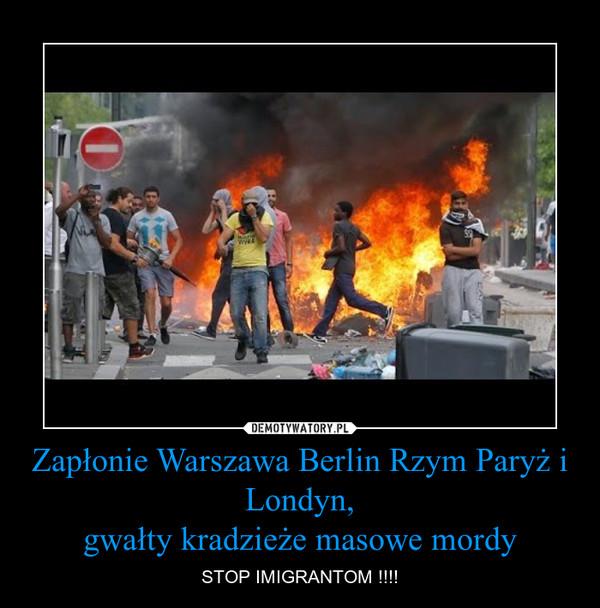 Zapłonie Warszawa Berlin Rzym Paryż i Londyn,gwałty kradzieże masowe mordy – STOP IMIGRANTOM !!!!