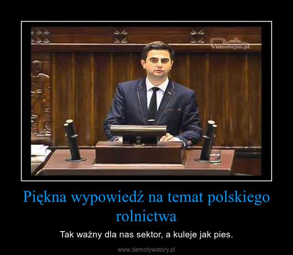 Piękna wypowiedź na temat polskiego rolnictwa – Tak ważny dla nas sektor, a kuleje jak pies.