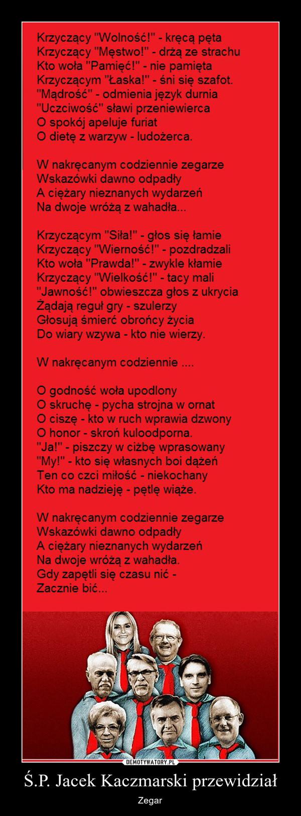 Ś.P. Jacek Kaczmarski przewidział – Zegar