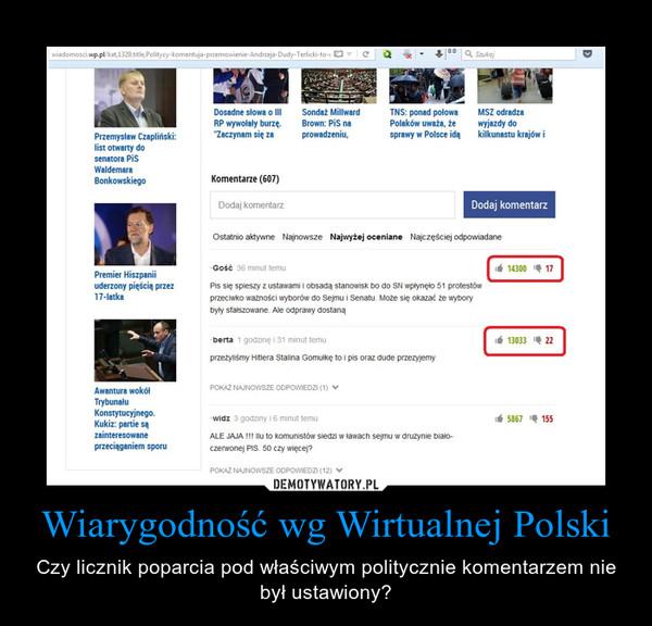 Wiarygodność wg Wirtualnej Polski – Czy licznik poparcia pod właściwym politycznie komentarzem nie był ustawiony?