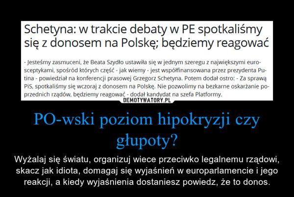 PO-wski poziom hipokryzji czy głupoty? – Wyżalaj się światu, organizuj wiece przeciwko legalnemu rządowi, skacz jak idiota, domagaj się wyjaśnień w europarlamencie i jego reakcji, a kiedy wyjaśnienia dostaniesz powiedz, że to donos.