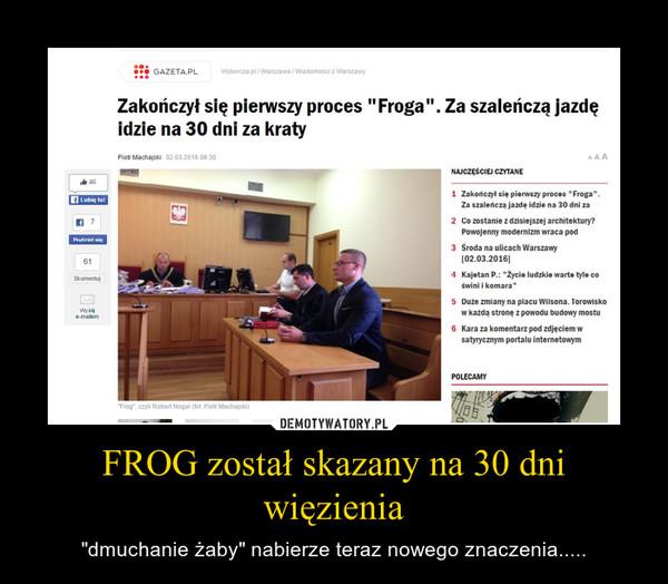 """FROG został skazany na 30 dni więzienia – """"dmuchanie żaby"""" nabierze teraz nowego znaczenia....."""
