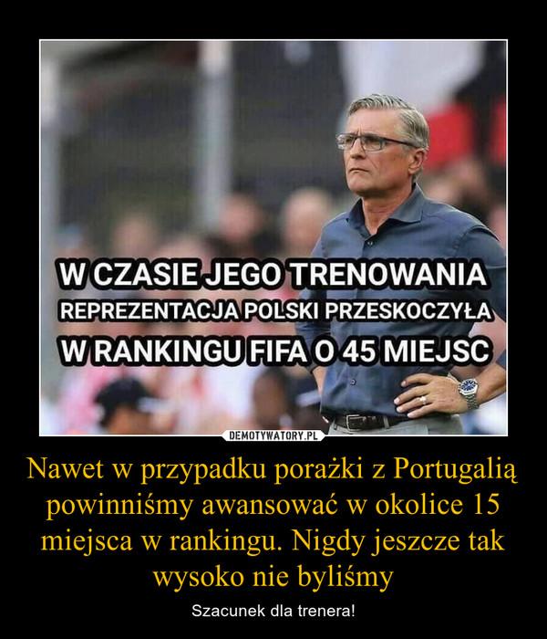 Nawet w przypadku porażki z Portugalią powinniśmy awansować w okolice 15 miejsca w rankingu. Nigdy jeszcze tak wysoko nie byliśmy – Szacunek dla trenera!