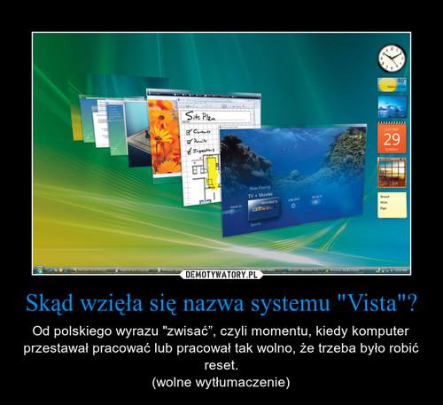 """Skąd wzięła się nazwa systemu """"Vista""""?"""