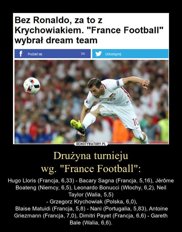"""Drużyna turniejuwg. """"France Football"""": – Hugo Lloris (Francja, 6,33) - Bacary Sagna (Francja, 5,16), Jérôme Boateng (Niemcy, 6,5), Leonardo Bonucci (Włochy, 6,2), Neil Taylor (Walia, 5,5) - Grzegorz Krychowiak (Polska, 6,0), Blaise Matuidi (Francja, 5,8) - Nani (Portugalia, 5,83), Antoine Griezmann (Francja, 7,0), Dimitri Payet (Francja, 6,6) - Gareth Bale (Walia, 6,6)."""