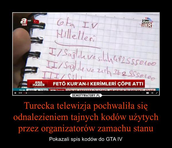 Turecka telewizja pochwaliła się odnalezieniem tajnych kodów użytych przez organizatorów zamachu stanu – Pokazali spis kodów do GTA IV
