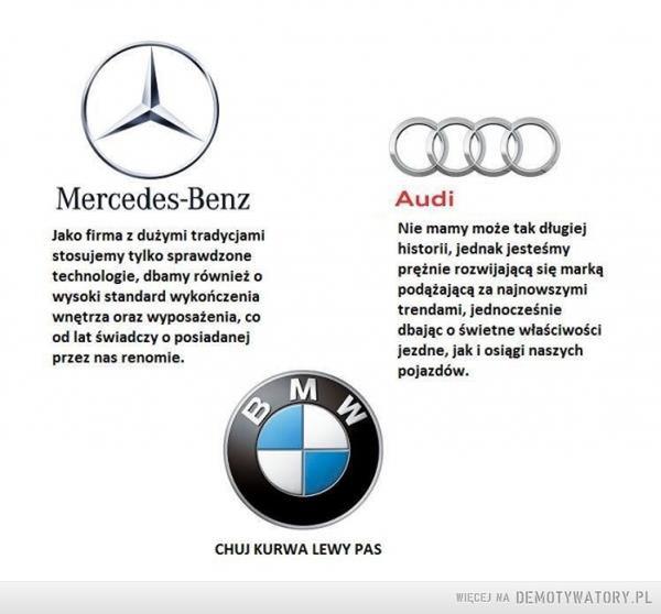 Typowy kierowca BMW –  Mercedes-BenzJako firma z dużymi tradycjamistosujemy tylko sprawdzonetechnologie, dbamy również owysoki standard wykończeniawnętrze oraz wyposażenia, cood lat świadczy o posiadanejprzez nas renomie.AudiNie mamy może tak długiejhistorii, jednak jesteśmyprężnie rozwijającą się markąpodążającą za najnowszymitrendami, jednocześniedbając o świetne właściwościjezdne, jak i osiągi naszychpojazdów.BMWCHUJ KURWA LEWY PAS