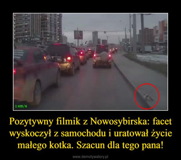 Pozytywny filmik z Nowosybirska: facet wyskoczył z samochodu i uratował życie małego kotka. Szacun dla tego pana! –