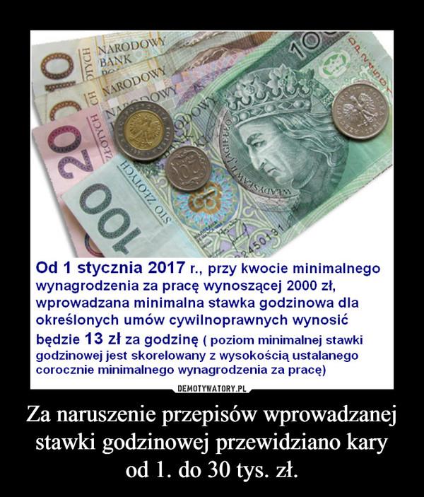 Za naruszenie przepisów wprowadzanej stawki godzinowej przewidziano karyod 1. do 30 tys. zł. –