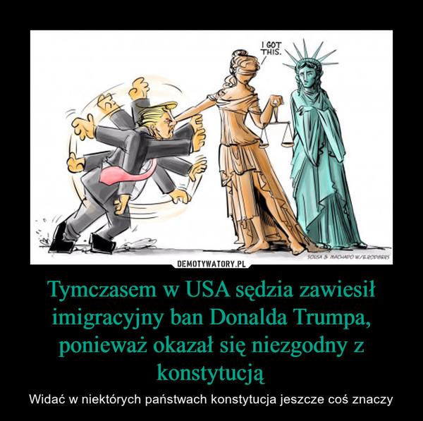 Tymczasem w USA sędzia zawiesił imigracyjny ban Donalda Trumpa, ponieważ okazał się niezgodny z konstytucją – Widać w niektórych państwach konstytucja jeszcze coś znaczy