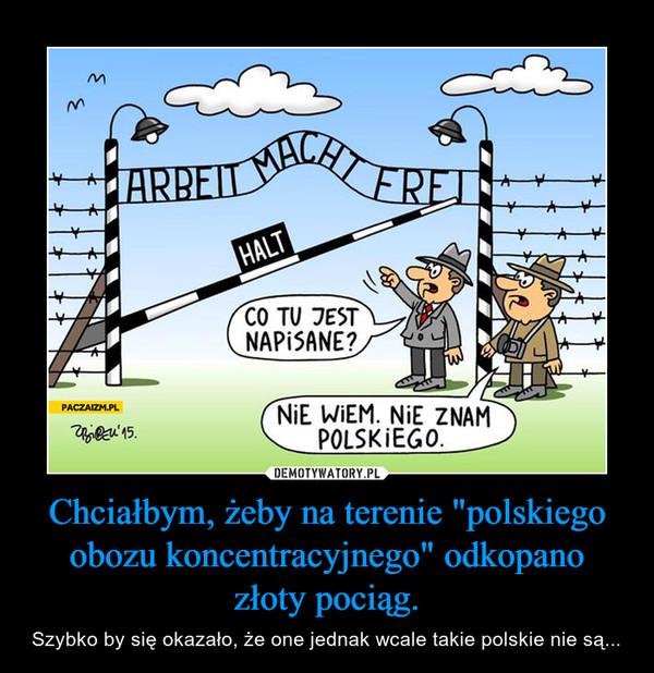 """Chciałbym, żeby na terenie """"polskiego obozu koncentracyjnego"""" odkopano złoty pociąg. – Szybko by się okazało, że one jednak wcale takie polskie nie są..."""