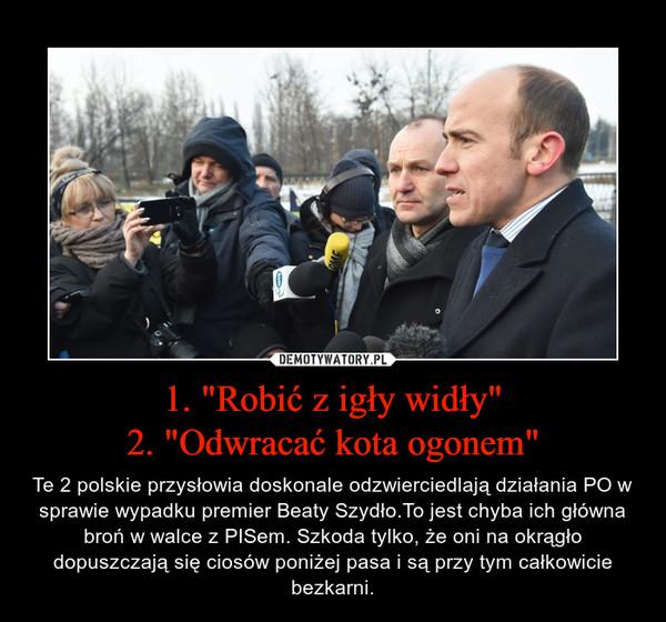 """1. """"Robić z igły widły""""2. """"Odwracać kota ogonem"""" – Te 2 polskie przysłowia doskonale odzwierciedlają działania PO w sprawie wypadku premier Beaty Szydło.To jest chyba ich główna broń w walce z PISem. Szkoda tylko, że oni na okrągło dopuszczają się ciosów poniżej pasa i są przy tym całkowicie bezkarni."""