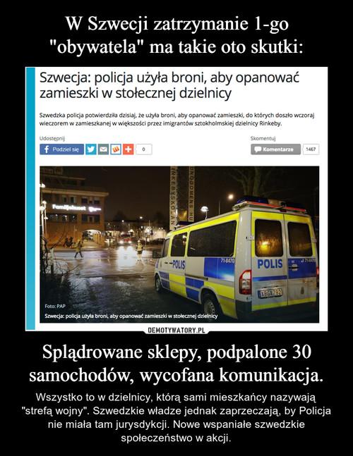 """W Szwecji zatrzymanie 1-go """"obywatela"""" ma takie oto skutki: Splądrowane sklepy, podpalone 30 samochodów, wycofana komunikacja."""