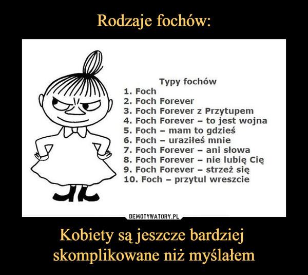 Kobiety są jeszcze bardziej skomplikowane niż myślałem –  Typy fochów1. Foch2. Foch Forever3. Foch Forever z Przytupem4. Foch Forever - to jest wojna5. Foch - mam to gdzieś6. Foch - uraziłeś mnie7. Foch Forever - ani słowa8. Foch Forever - nie lubię Cię9. Foch Forever - strzeż się10. Foch - przytul wreszcie
