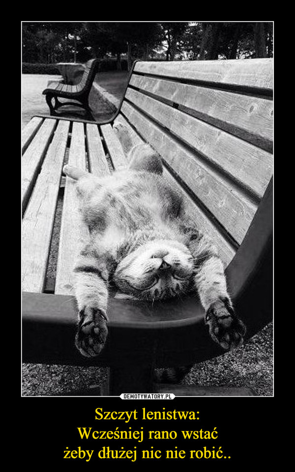 Szczyt lenistwa:Wcześniej rano wstaćżeby dłużej nic nie robić.. –