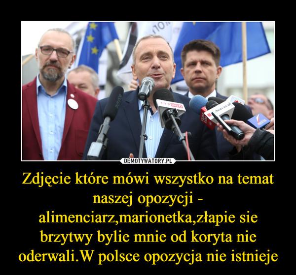 Zdjęcie które mówi wszystko na temat naszej opozycji - alimenciarz,marionetka,złapie sie brzytwy bylie mnie od koryta nie oderwali.W polsce opozycja nie istnieje –